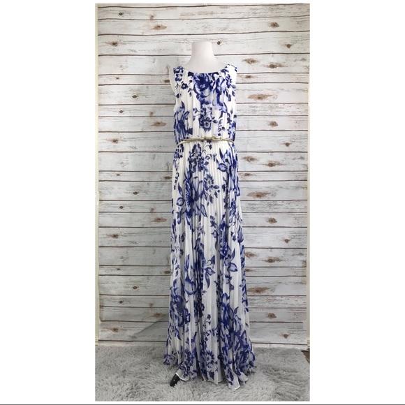 1dcebeabc163 Eliza J Dresses & Skirts - Eliza J Dress 16 Floral Chiffon Maxi Pleated belt